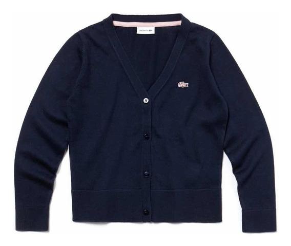 Suéter Lacoste De Niña Navy Blue Nuevo Y Original