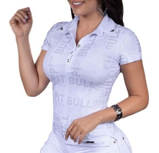Camisa Polo Pit Bull Jeans 31683 Branca Logo Pitbull