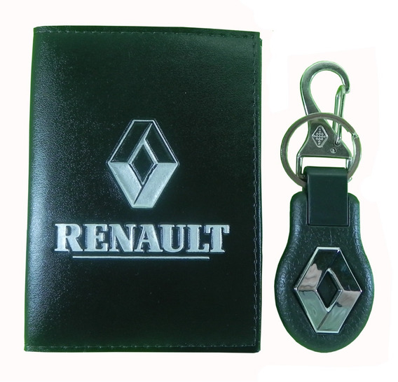 Kit Carteira Couro Porta Documento + Chaveiro Renault