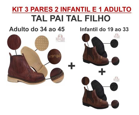 Kit 02 Pares Bota Infantil E 1 Adulto - Tal Pai Tal Filho