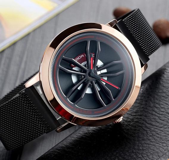 Reloj Hombre Diseño De Rin Giratorio Moderno Correa De Iman
