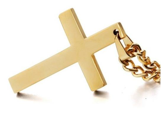 Cordão Masculino De Cruz Dourado Prateado Preto Pedras