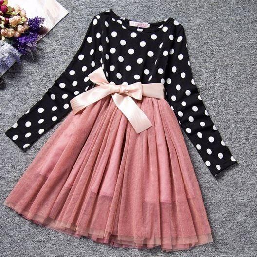 Vestido De Niña Con Tutú Color Rosa Manga Larga Para Fiesta