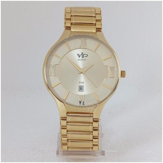 Relógio Masculino Vip Quartz Mh305 Dourado Original 12x S/j