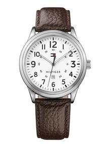 Relógio Tommy Hilfiger Couro Marrom & Prateado 42mm