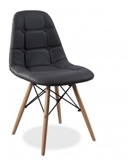 Silla Eames Capitoneada Vinil Color Negro By Promobel