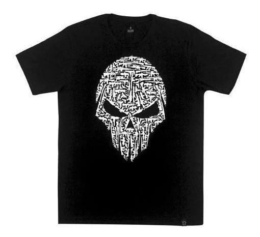 Camiseta Masculina Tática 100% Algodão Caveira Armas Bravo