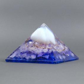 Orgonite Pirâmide Azul E Violeta Com Pedra Da Lua - Autoconh