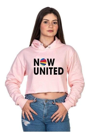 Moletom Feminino Cropped Now United Flanelado Em Promoção