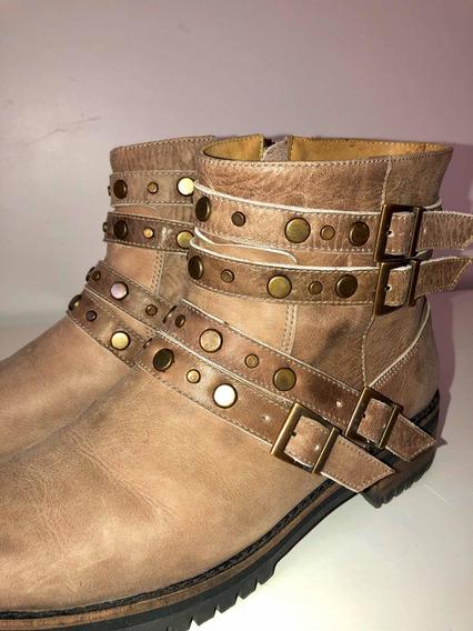 Zapatos Mujer Botas Cuero Tachas Talle 38 Color Vison