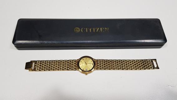 Relógio Dourado Citzen Quartz Prova Dágua Pulseira Dourada