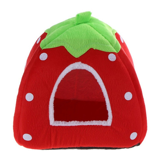 Soft Cat House Foldable Strawberry Dog Bed Animal Cave Nest