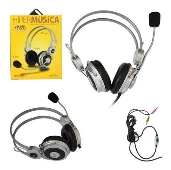 Fone Headphone Estéreo Com Microfone Pc Infokit Super Bass