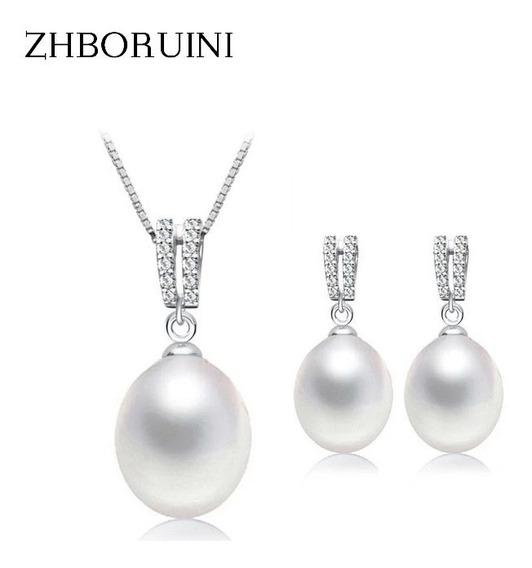 Set Aretes Y Collar Perla Y Zirconias