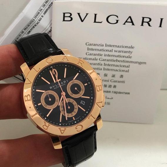 Bulgari Bb42 Ouro Rosé Chrono Completo Impecável