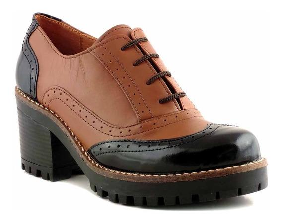 Zapato Abotinado Briganti Mujer Cuero Taco Goma - Mccz33012