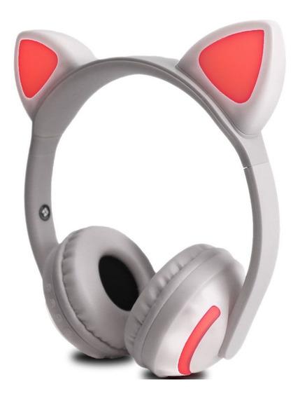 Fone Ouvido Bluetooth Headphone Orelha Gatinho Com Led E P2