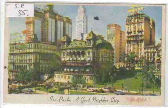 7564 Trinidad & Tobago Postal Antigo Downtown São Paulo 1956