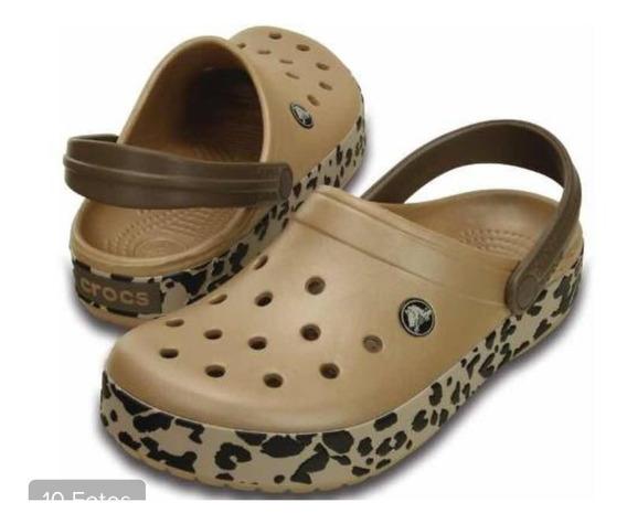 Crocs Croband Leopard Gold Originales Nuevas ! M6 W8 ( 38 )