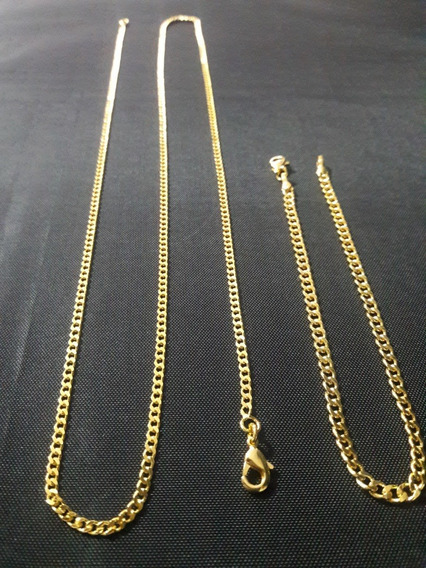 Pulseira Masculino Grumet 3mm Dourada Banhada A Ouro 18k T&d