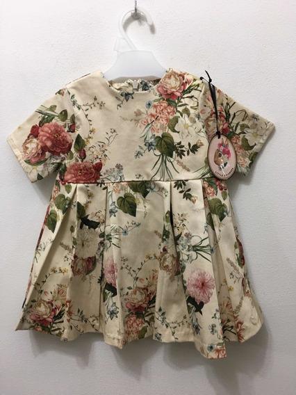 Vestido T 12 Meses Floreado Little Akiabara Nuevo