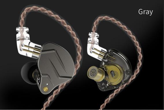 Fone Intra Auricular Kz Zsn Pro Com Microfone - Cinza