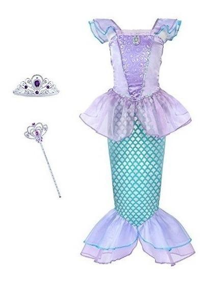 Vestido Traje Sirena Princesa Ariel Con Accesorios Niña
