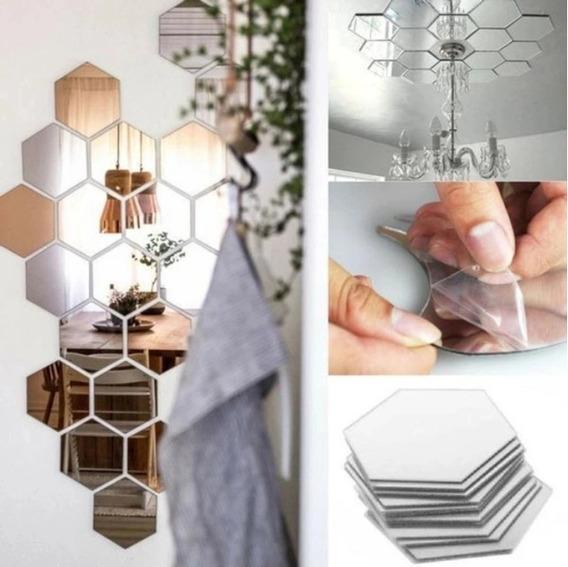 Adhesivo Decorativo Pared Espejo 3d Hexagonal Pegatinas
