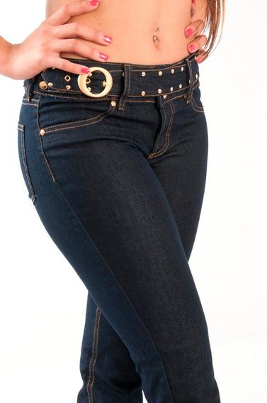 Calça Feminina Cós Alto Jeans Escuro Equus