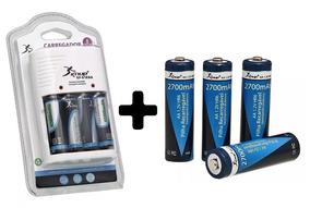 Kit Carregador De Pilhas Knup + 8 Pilhas Aa Original