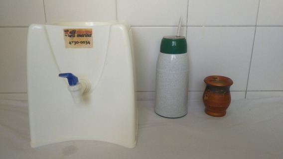 Set X3 Dispenser Agua Mate Listo 500cc Mate Madera Recoleta