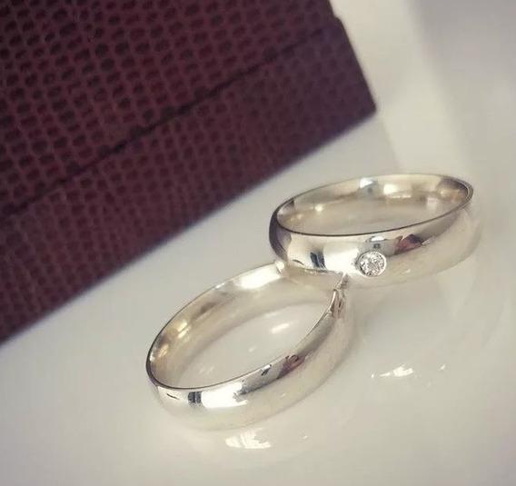 Par Alianças Prata Compromisso Namoro Com Pedra + Gravação