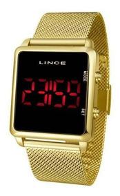 Relógio Lince Led Digital Dourado Quadrado Unissex Mdg4596l