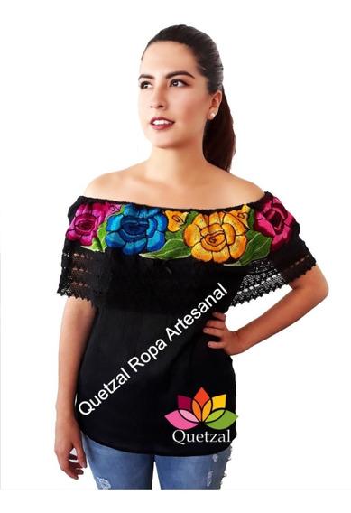 Blusa Bordada Campesina Mexicana Bordada Típica Chiapas