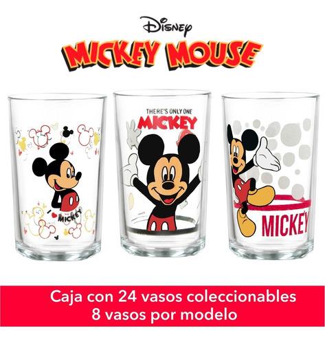 Kit De 24 Vasos De Vidrio Mickey (8 Por Modelo) Mickey
