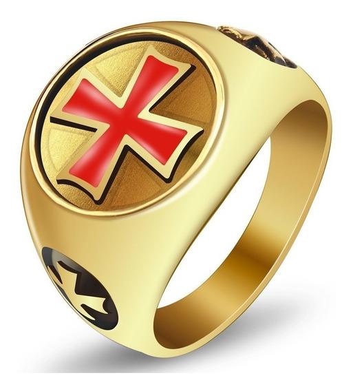 Anel Masculino Aço 316l Cruz De Malta Banhado A Ouro 18k
