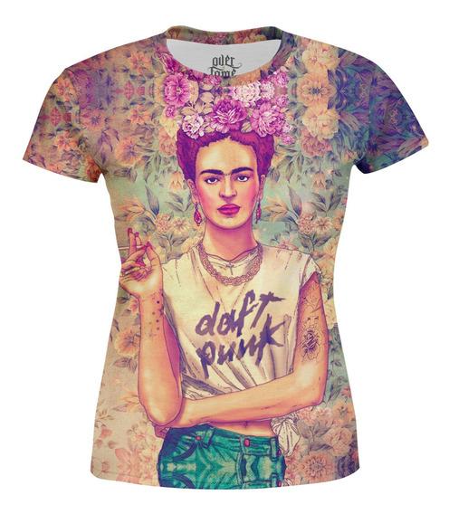 Camiseta Baby Look Feminina Frida Carlo Estampa Digital