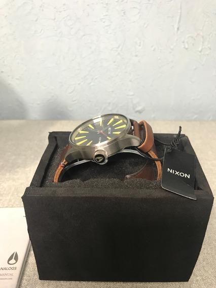 Relógio Nixon Sentry Leather Marrom (novo Na Caixa)