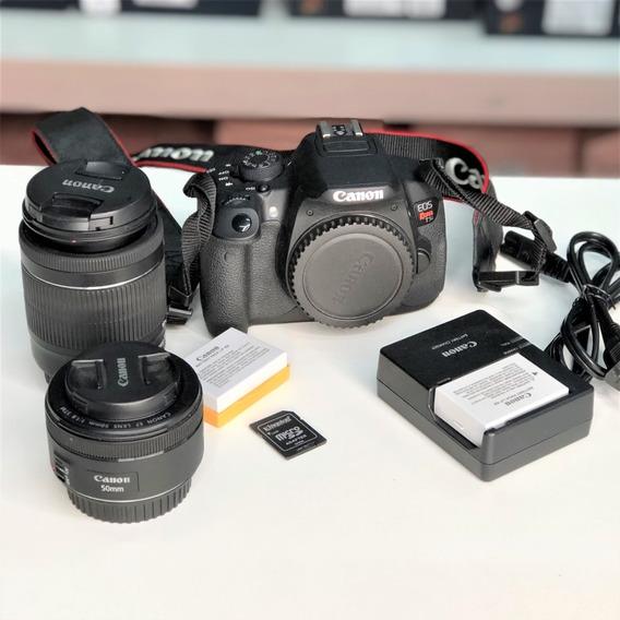 Camera Canon T5i Kit Lentes+bateria+cartão Usado