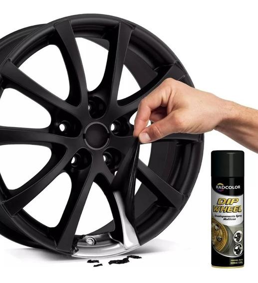 1 Spray Preto De Envelopamento Líquido Dip Wheel 500ml
