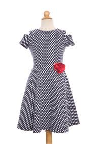 Vestido Clásico, Manga Corta, Cuello Redondo, Diseño Brocada