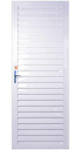Porta Alumínio 2,10x0,80 Veneziana Branca Direita Aluvid