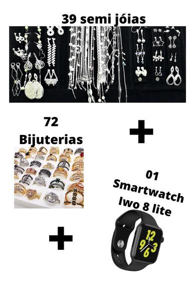 Semi Jóias Folheados + Aço Inox + Biju + Relógio 106 Peças