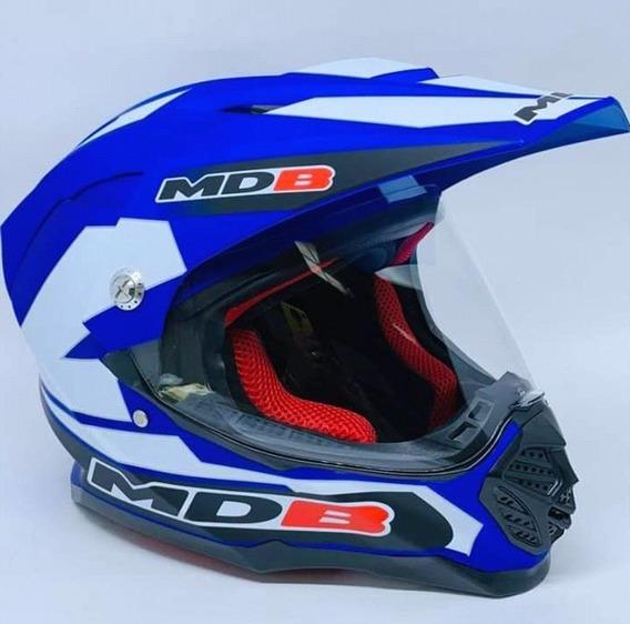 Capacete Para Moto Valentino Rossi Cross Azul Fosco