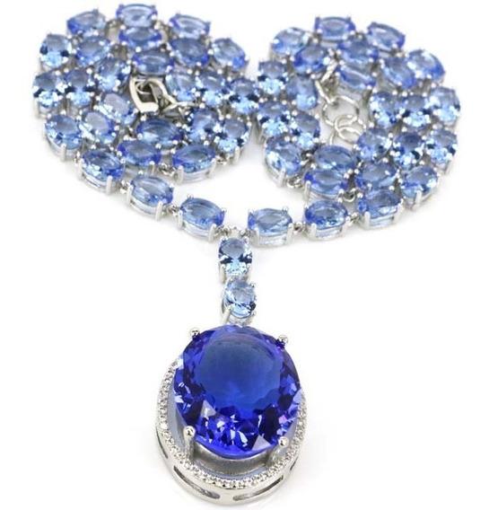 Colar Gargantilha Feminina Zircônia Azul Luxo Pedra Grande