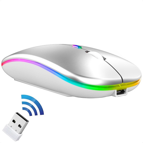 Imagen 1 de 10 de Ratón Silencio 2.4g Wireless Mouse Recargable Portátil