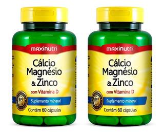 Cálcio Magnésio E Zinco - 2x 60 Cápsulas - Maxinutri