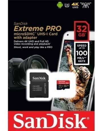 Cartão Micro Sd Sdhc Sandisk Extreme Pro 32gb 100mb/s Uhs-3