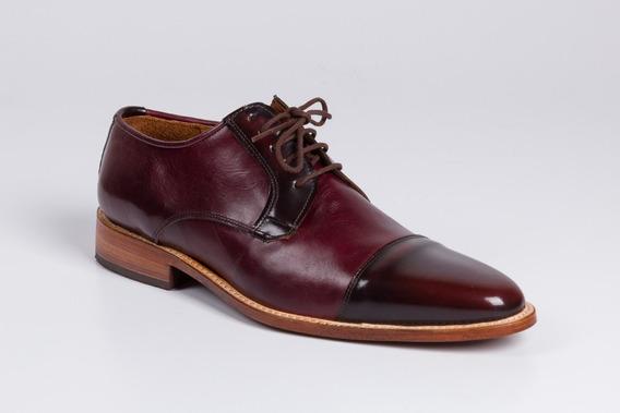 Zapatos De Cuero Color Bordó Para Hombre - Modelo Niza