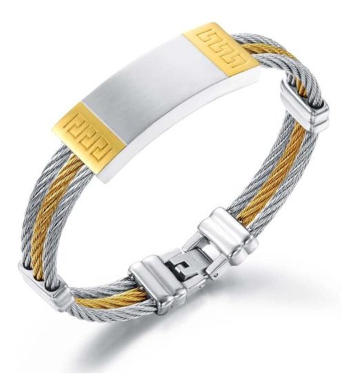 Pulseira Masculina Banhada A Ouro Amarelo 18k Luxo